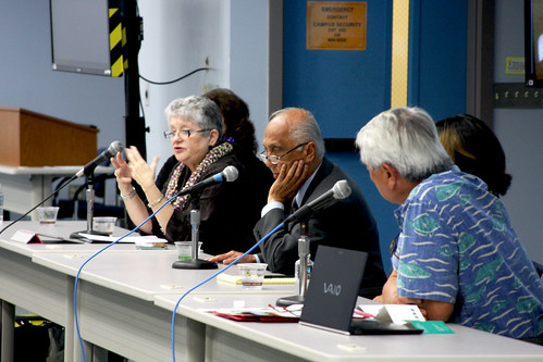 <p>University of Hawaii President M.R.C. Greenwood, left, Regent Artemio C. Baxa, center,  and UH Maui College Chancellor Clyde Sakamoto, right,  at the University of Hawaii Maui College community forum.</p>