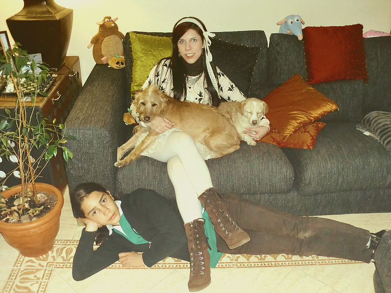 Otome Kei: Vero Moda dress & H&M Birds cardigan with Luc, Chucho and Chewie
