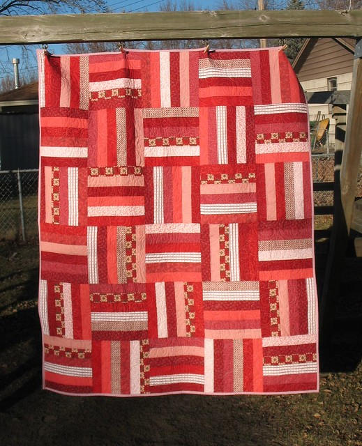 Creative Chicks Red Rail Fence Quilt