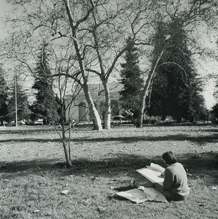 Student sketching on Marston Quad