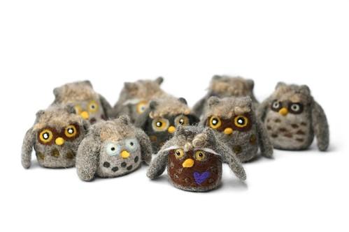 Needle Felt Owls