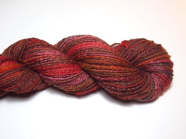 FCK-my birthday gift from Ginny-batt pack-2.6oz-Corriedale fleece, firestar, mohair locks, merino-tencel top, Tussah silk-carded-chain plied-140yds