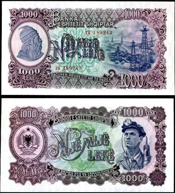 1000 Leke Albánsko 1957, Pick 32