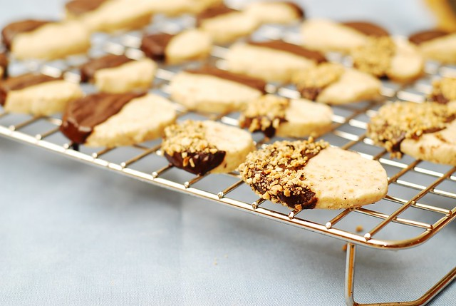 Chocolate covered hazelnut shortbread cookies