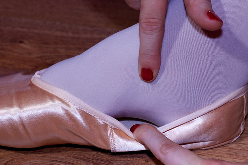 how to sew ribbons to pointe shoes