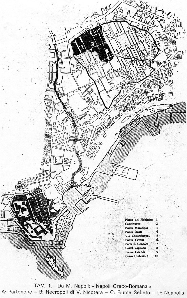 Mappa dei due nuclei di Neapolis rispetto alla Napoli attuale