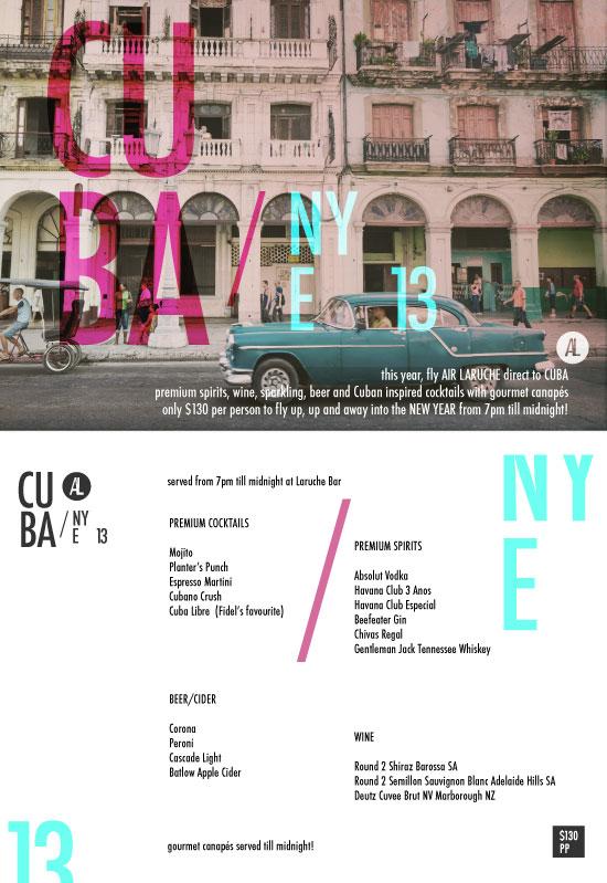 Laruche CUBA NYE 2012 flyer