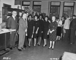 Mayor Clinton and singing group at Christmas party, 1961