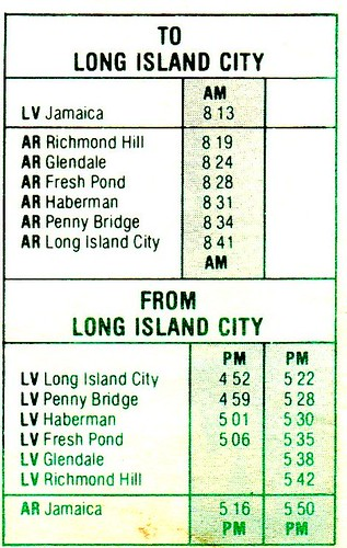 LIRR Lower Montauk 1981 Schedule