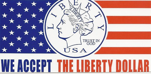 Liberty Dollar merchant sticker