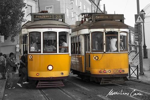Tram gialli a Lisbona