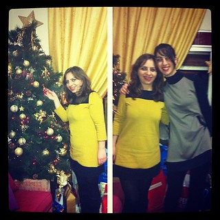 #dressember  | Day 14 #dressember2012 #christmaseve #christmas #tree #lights #family #sister #black #yellow #grey