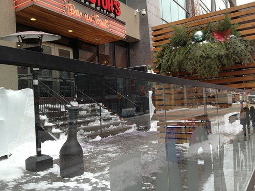 restaurant patio in winter without furniture