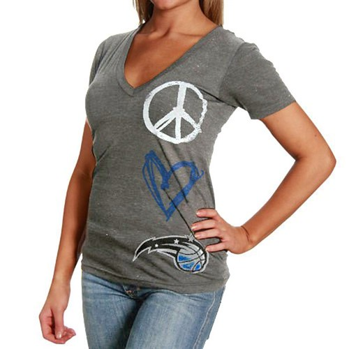 Sportiqe Orlando Magic Ladies Ash Abyss Tri-Blend Premium V-neck T-shirt