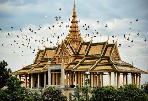 building birds architecture temple cambodia southeastasia palace spire wat royalpalace goldentemple goldenroof dagoba moonlightpavilion