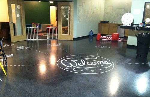 Painted floor signage