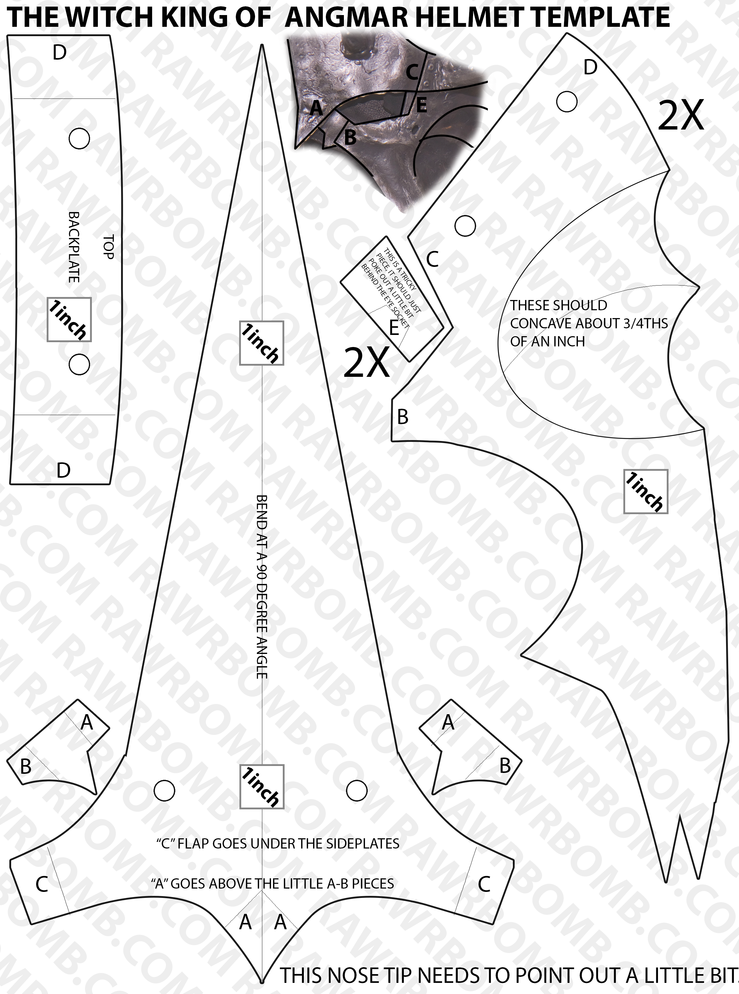paper knight helmet template - witch king of angmar finished with templates 12 29 2012