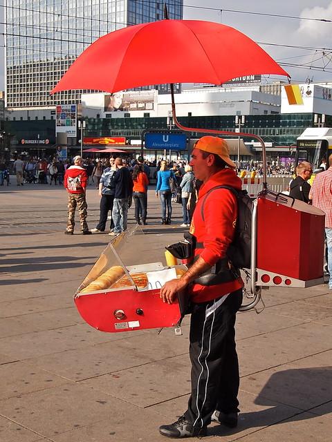 Hot Dog Seller Fight Push Cart Up