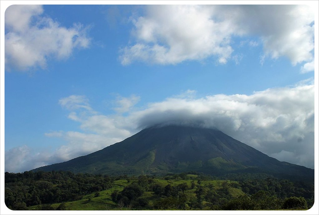 volcano arenal with clouds
