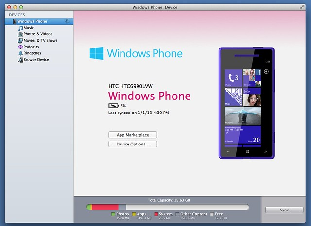 Windows Phone for Mac Menu Screen