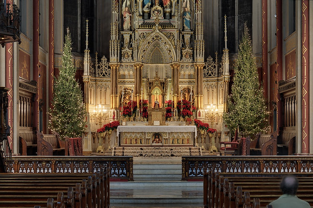 Saint Francis de Sales Oratory, in Saint Louis, Missouri, USA - high altar decorated for Christmas