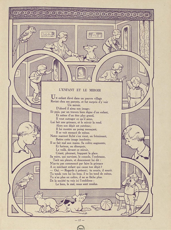 B&W cartoon print in kid's book of various scenes with child and dog next to a poem