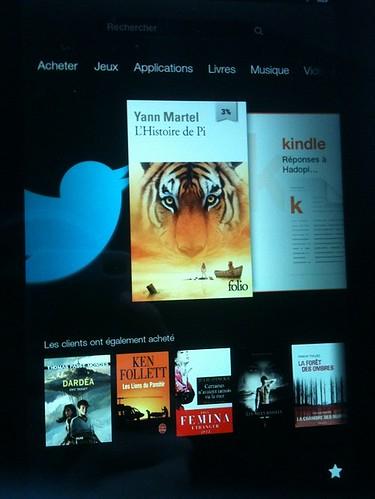 Écran d'accueil du Kindle Fire HD