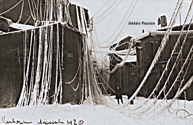 lignes électriques et téléphoniques à terre après la tempête de glace à Narbonne les 19 et 20 décembre 1920 météopassion