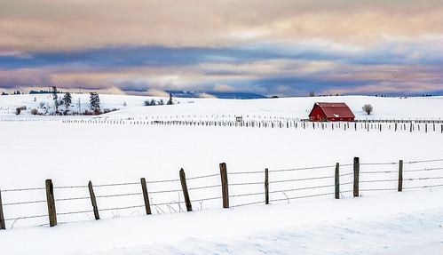Photo:Winter red barn with fence By:The Knowles Gallery