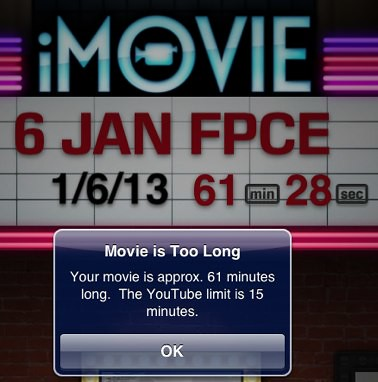 iMovie for iPad - 15 min upload max for YouTube