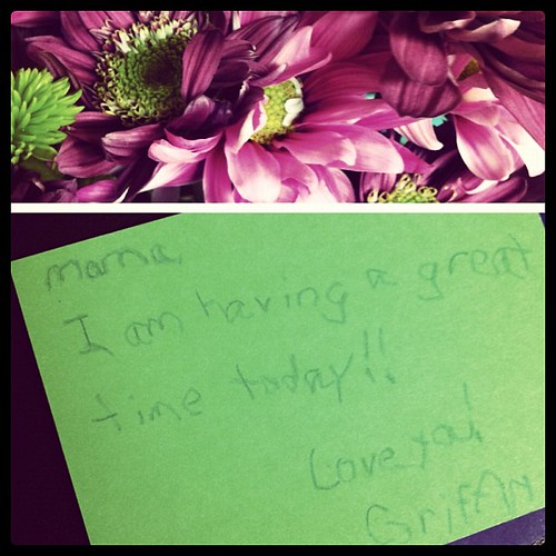 flowers & a sweet note from my boy. melt my heart.