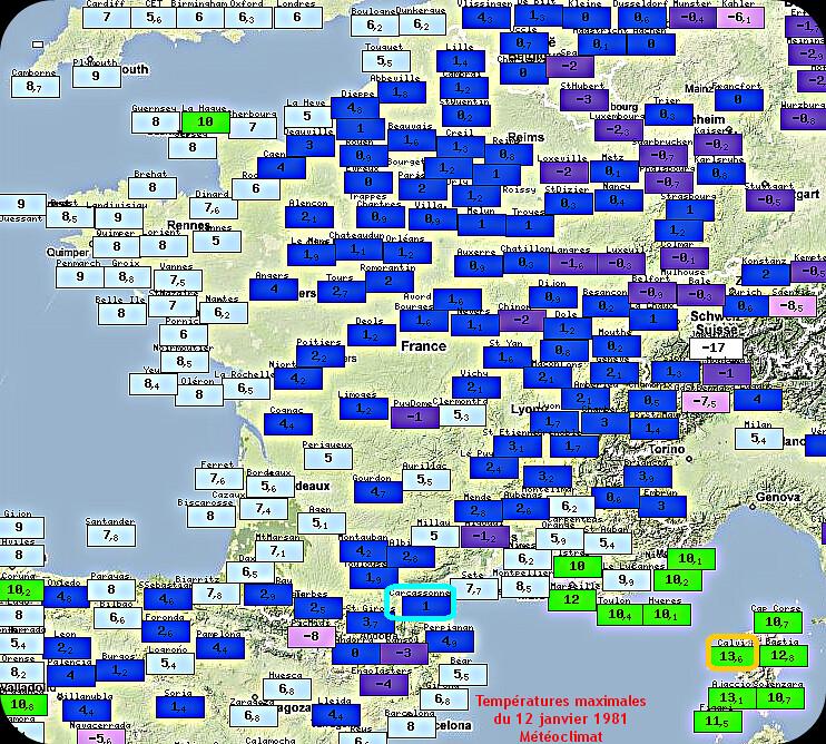 températures maximales du 12 janvier 1981, lors de l'épisode neigeux remarquable sur Carcassonne météopassion