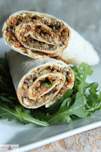 Roasted Red pepper, feta and lentil wrap