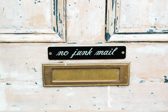 No Junk Mail sign on letterbox