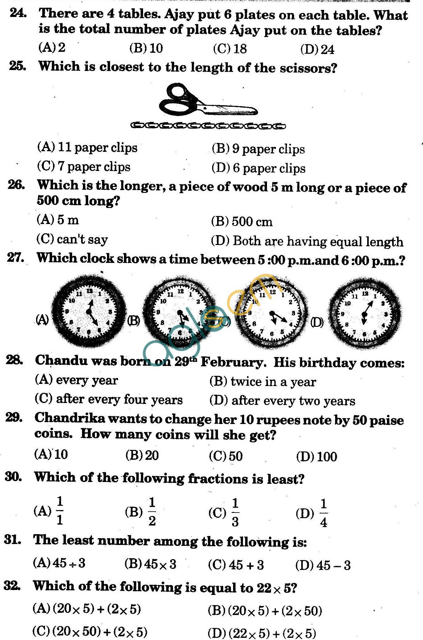 NSTSE 2009 Class III Question Paper with Answers - Mathematics