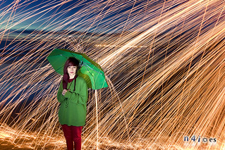 Image of Playa de Fuentebravía. portrait lightpainting beach steelwool elpuertodesantamaria