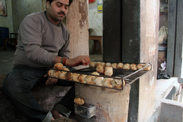 Cooking the baati chokha
