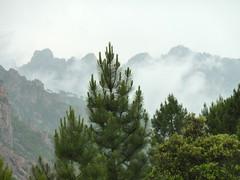 Anciennes bergeries de Mela : sur le sentier de Mela, la crête de Bavella sous l'orage
