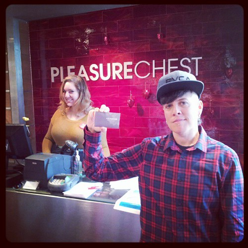 Picking up the gift certificate from the pleasure chest for the Yes Ma'am raffle! Win $100 towards your sex life on Saturday! Featuring @laura_the_babe behind the counter