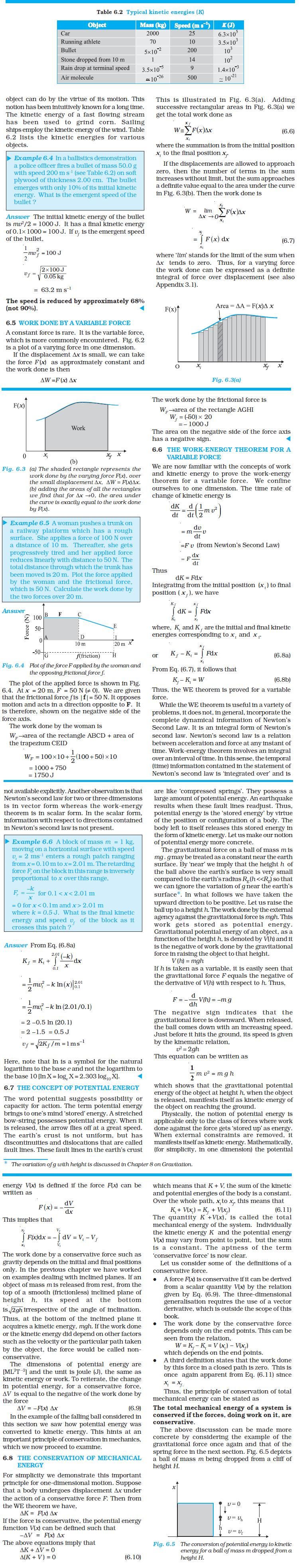 NCERT Class XI Physics Chapter 6 – Work, Energy and Power