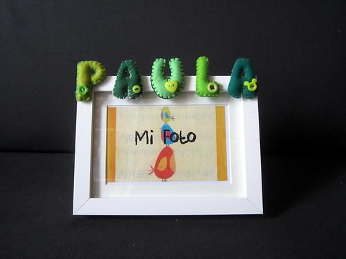 Marco de fotos con nombre en Fieltro - ChikiPol - Paula - Verde