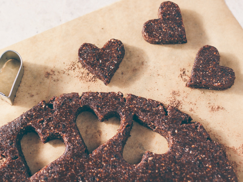 Raw cherry brownie hearts