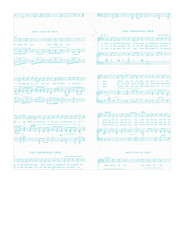 7x7 inch square Christmas Sheet Music WHITE & TURQUOISE Vintage GF LARGE SCALE