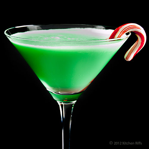 Grasshopper Cocktail with Candy Cane Garnish in Cocktail Glass