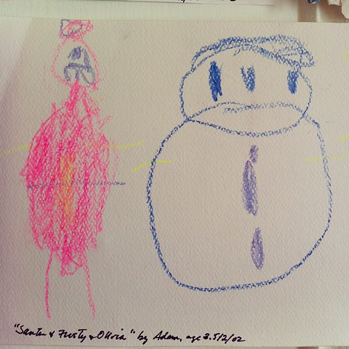 """Santa, Frosty and Olivia"" by  3 1/2 year old Adam"