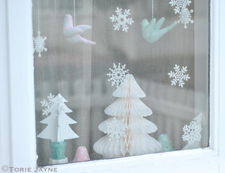 Felt birds and snowflakes
