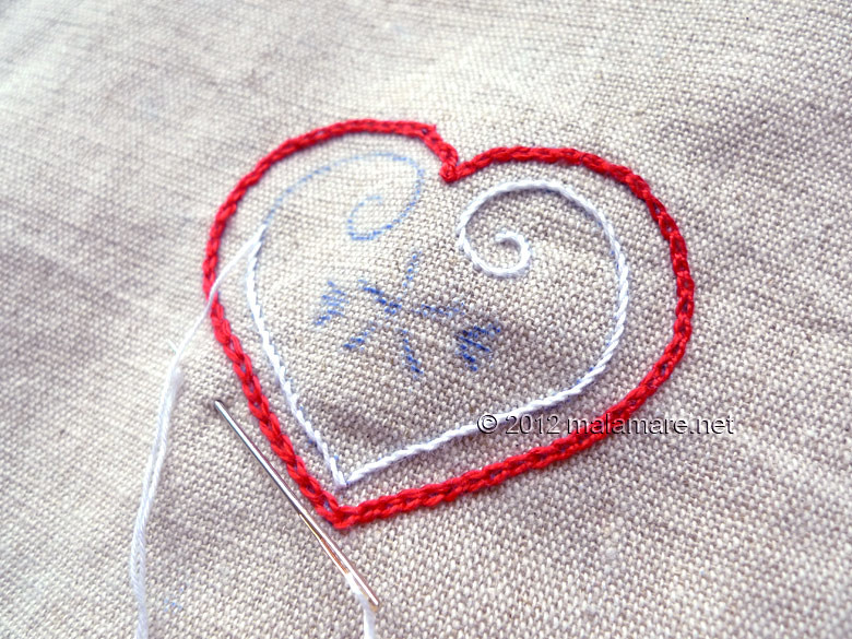Heart embroidery pattern stitching onto linen