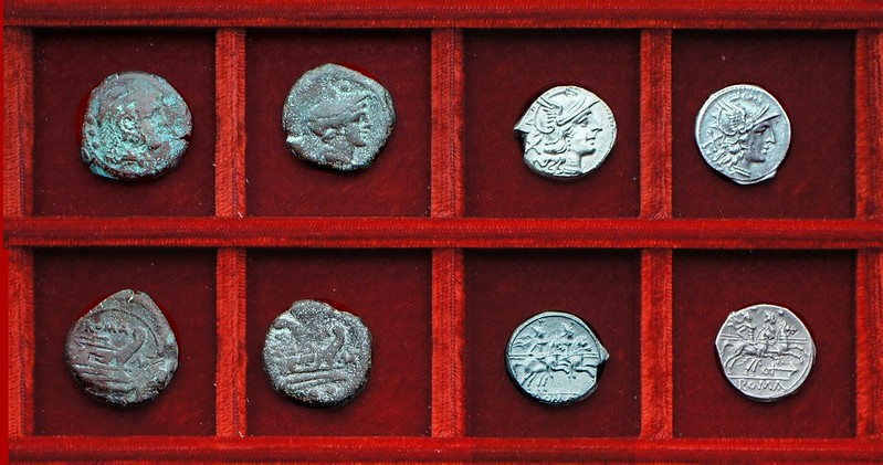 RRC 164 Dioscuri denarius, RRC 165 anchor denarius, RRC 162 MAT Matiena bronzes (slender letters), Ahala collection, coins of the Roman Republic