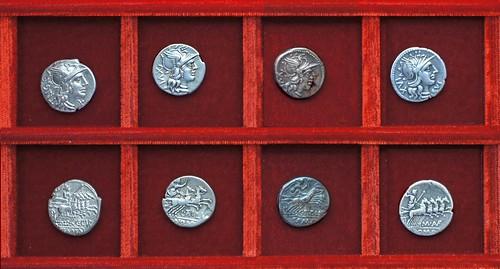 RRC 223 C.CVR TRIG Curiatia, RRC 225 L.ATILI NOM Atilia, RRC 226 C.TITINI Titinia, RRC 227 M.AVF RVS Aufidia, Ahala collection, coins of the Roman Republic