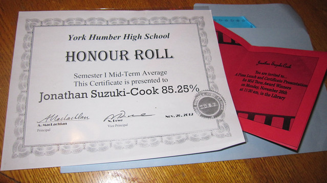 Honour roll certificate